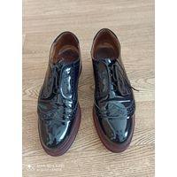 Туфли оксфорды, синие, натуральный лак, внутри - натуральная кожа, р.39