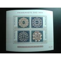 Норвегия 1994 день марки драгоценности блок