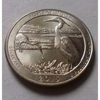 25 центов, квотер США, нац. парк Бомбай Хук (штат Делавэр), P D