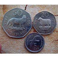 Фолклендские Острова. 3 монеты 1998-2004 г.