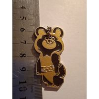 Знак Значок алюминий СССР спорт Олимпиада 80 Мишка Медведь