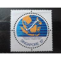 Сингапур 1978 Карта, круглая марка**