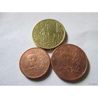 Набор евро монет Франция 2005 г. (1, 2, 10 евроцентов)