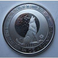 Канада, 2 доллара, 2017, серебро (Третья монета серии 'Grey Wolf Series')