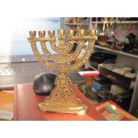 Подсвечник-менора Jerusalem латунный, 14,5 см.
