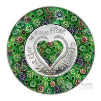 "RARE Острова Кука 5 долларов 2017г. ""Murrine Millefiori"".  Монета в капсуле, подарочном футляре; сертификат; коробка. СЕРЕБРО 20гр."
