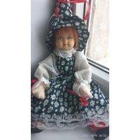 Кукла старая, времени СССР, интерьерная.керамическая голова.