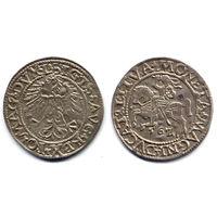 Полугрош 1562, Жигимонт Август, Вильно. Ав: окончание легенды - L, Рв: хвост Погони вниз, окончание легенды - LITVA