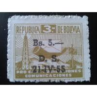 Боливия 1955 служебная марка, надпечатка