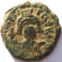 ВИЗАНТИЯ. МАВРИКИЙ ТИБЕРИЙ (582-602 г). КОНСТАНТИНОПОЛЬ. 593 г. 1/2 ФОЛЛИСА.