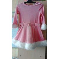 Новогоднее платье снегурочка или мисс санта  на 2-4 года