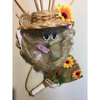 Домовенок Беларуский сувенир из льна и соломки Метла шляпа подсолнухи НОВЫЙ