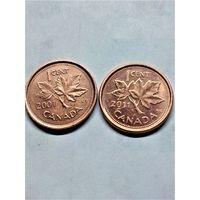 Канада 1 цент 2001 (2 шт.) и 2011