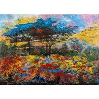 """Картина """"Огненная осень"""" (холст, масло, акрил) 50,5*70см"""