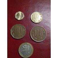 Чили НАБОР 5 монет 1997-2013