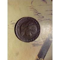 2 1/2 сентимо 1867 г. Испания. Изабелла II. ОМ. Звезда 7 лучей.