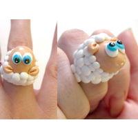 Кольцо ручной работы с овечкой))