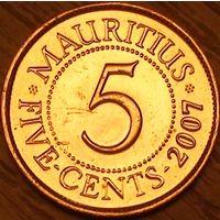 5 центов 2007г. Маврикий.
