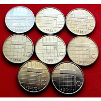 Нидерланды, 1 гульден 1982, 1983, 1985-1987, 1990, 2000, 2001 г.г. - 8 штук