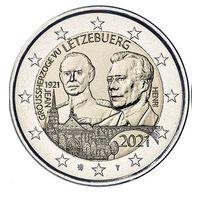 2 Евро Люксембург 2021  100 лет со дня рождения великого князя Жана. Рельеф UNC из ролла