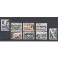 Плотины. Водопады. Исландия. 1956. 8 марок (полная серия). Michel N 303-310 (60,0 е).