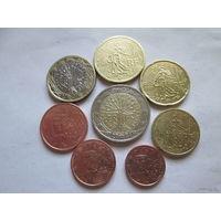 Полный ГОДОВОЙ набор евро монет Франция 2001 г. (1, 2, 5, 10, 20, 50 евроцентов, 1, 2 евро)