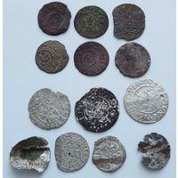 Польско-Прибалтийское серебро, разная мелочушка (13 монет)!!! С 1 рубля!!! Без МЦ!!!