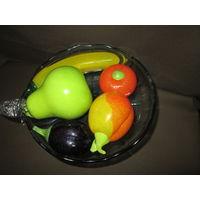 Фруктовница ваза с фруктами(всё стекло)