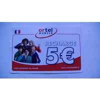 Францыя телефонная карточка 5 евро. Ortel mobile. RECHARGE.  распродажа