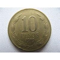 Чили 10 песо 1989 г.