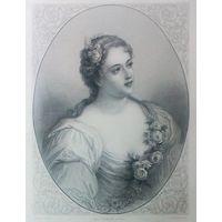 MME DE PARABERE   РЕДКАЯ . Старинная гравюра ПАРИЖ 1860 год. оригинал 27 х18 см.
