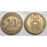 Латвия, 20 сантимов 1992
