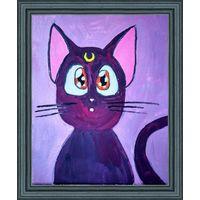 Картина маслом Кошка Луна из Сейлор Мун