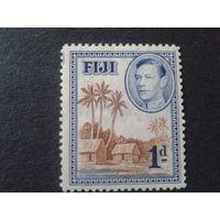 Фиджи, колония Англии 1938 король Георг 6, пальмы