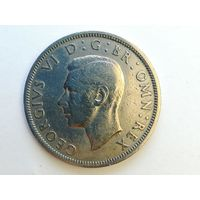 1/2 кроны 1948 года. Великобритания, Георг VI. Монета А2-1-12