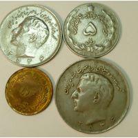 Иран 5 (1973/1352), 10,  20 (1977/2536) риалов набор из 4 монет, шах