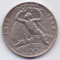 Чехословакия, 100 крон 1948 года.