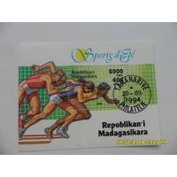 Марка Мадагаскар - 1994, используется штамп M/S на спорт.