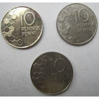 Финляндия. 10 пенни. 3 штуки .106