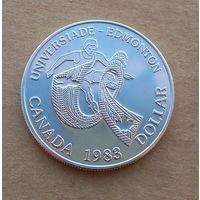 Канада, доллар 1983 г., универсиада в Эдмонтоне, серебро