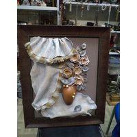 Декоративное керамическое панно в пластиковой раме 60*50 см.