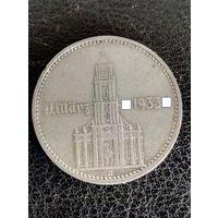 2 рейхсмарки Германия (Третий Рейх) 1934 год A (Берлин), Кирха с надписью.Серебро 625. 35