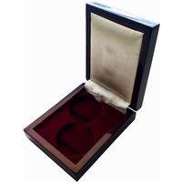 Футляр для монет с ложементом на 2 ячейки D 36,5 мм деревянный
