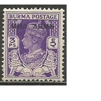 Бирма. Король Георг VI со львами. Надпечатка на #20. 1945г. Mi#37.