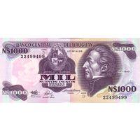 Уругвай 1000 песо образца 1992 года UNC p64Ab
