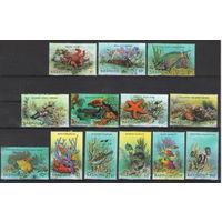 Барбуда Морская фауна 1987 год чистая полная серия из 13-ти марок