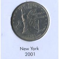 25 центов США 2001 г. штат Нью-Йорк D