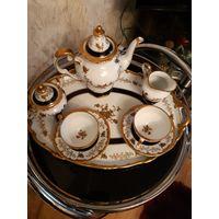 Чайный сервис Welmar фарфор ,позолота.  8 предметов.
