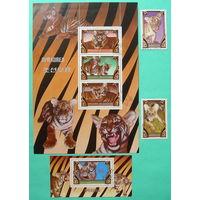 КНДР. Тигры. ( Лист, блок и 2 марки ) 1982 года.