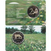 2 евро 2016 Латвия Корова BU